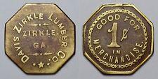 GHOST TOWN DAVIS ZIRKLE LUMBER CO. 1c LUMBER TOKEN ZIRKLE, PIERCE CO, GEORGIA GA