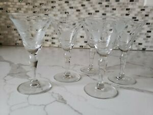 Set Of 5 Cordial Or Shot Glasses With Stems Etched Flowers