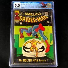 Amazing Spider-Man #35 💥 CGC 5.5 OW-W 💥 2nd Molten Man! Marvel Comic 1966