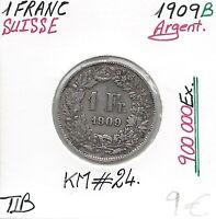 SUISSE - 1 FRANC - 1909 B (900 000 Ex) Pièce de Monnaie en Argent / Qualité: TTB