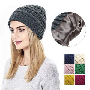 Women Men Knit Slouchy Baggy Beanie Silk Satin Lined Winter Hat Ski Slouchy Cap