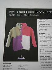 Knit 1 Crochet 2 Child Color Block Jacket Size 2 4 6 Knit Pattern 1172 Beginner