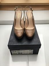 Prada Taupe Leather And Crocodile Sling Back Shoes. Size 4.5