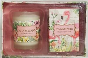 Michel Design Works Candle & Soap Gift Set: FLAMINGO Scent: SWEET OSMANTHUS NEW!