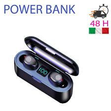 Cuffie Auricolari Bluetooth F9 V5.0 Touch Binaural Display con Power bank 2000mh