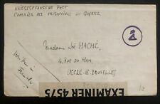 1943 Isle Of Man England Internment POW Camp X Censored Letter Cover To Belgium