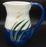 "Pottery Studio Art Pitcher Jug Juice Water Cat Tails 7"" Tall Vase Decor Signed"
