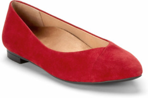 New Vionic Womens Caballo Ballet Flats Shoes Red Leather Pointed Toe 9.5 Wide