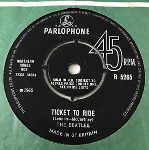 """THE BEATLES - 1965 - """"TICKET TO RIDE"""" - 1st pressing - Parlophone - R5265 - *EX*"""