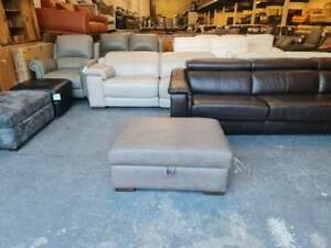 Ex-display Mazzini light grey leather large storage footstool