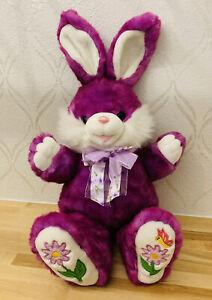 "Dan Dee Hoppy Hopster Purple 22"" Easter Bunny Rabbit Plush Embroidered Flowers"