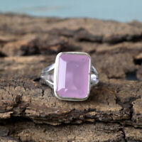 Natural Pink Chalcedony Gemstone 925 Sterling Silver Octagon Handmade Gift Ring