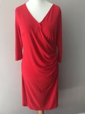Red Wrap Style Party Dress Size 16 Stretch V Neck Flattering Drape Cruise