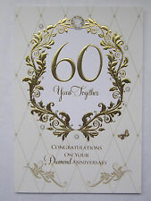 STUNNING EMBOSSED 60 YEARS TOGETHER 60TH DIAMOND ANNIVERSARY GREETING CARD
