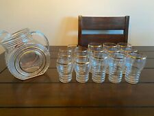 New ListingVintage clear glassware set with matching pitcher, 24kt gold trim, 17 pieces!
