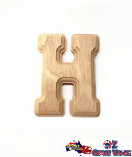 "Small Oak Wood Alphabet Letter ""h"" Natural Brown Uppercase Home Decor Art Craft"