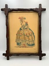 Antique Adirondack Tramp Art Wood Picture Frame Carved Leaves 1840s East Lake