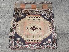 Old Hand Made Tribal Persian Oriental Wool Faded Pink Blue  Bag Rug  53x48cm