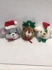Three Christmas Door Knob Covers - Mouse, Lamb and Bear