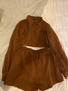 Brown Shirt And Short Set Size 10