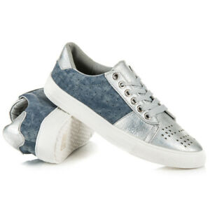 Womens Ladies Flat Lace Up Trainers Two Toned Panel Sneakers Shoes Size Lavello