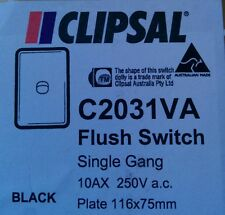 Clipsal One ( 1 ) Gang Light Switch Classic Single Wall Plate C2031VA Black