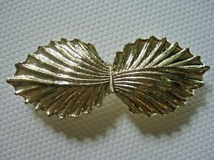 Unsigned Vintage Bright Gold Tone Textured Ribbed Leaf Belt Buckle 2-Piece EVC