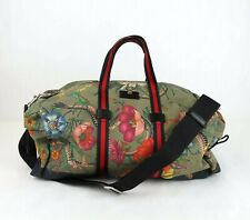 Gucci Green Floral Canvas Duffle Travel Bag with Removable Strap 450983 3775