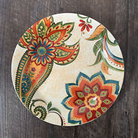 Pier 1 ~ Set of (4) CLASSIC FLORAL Paisley Salad Plate Fall Colors with Chips