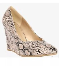 New Torrid Retro Pinup Beige Snake Skin Print Sculpted Wedges Sz 11w