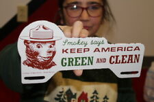 Smokey Bear Says Keep America Clean & Green Gas Oil Porcelain Metal Sign