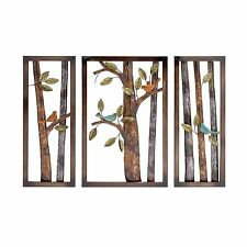 Metal Wall Decor Set 3 Piece Plaque Home Garden Office Styled Art Bird Sculpture