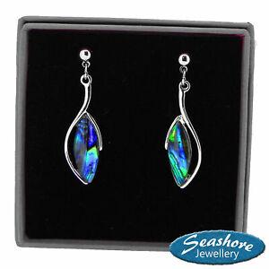 Paua Abalone Shell Oval Earrings Womens Silver Fashion Jewellery 32mm Gift Boxed