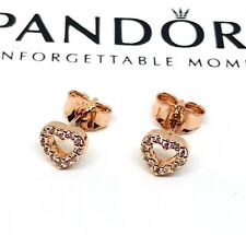 New Pandora Rose Captured Heart Stud Earrings
