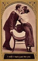 I Wish I Had A Pal Like You 1909 Valentine's Day Postcard Lover Kiss