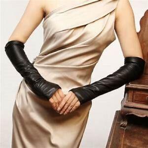 Ladies Long Sleeve Elbow Fingerless Driving Women Girl's Genuine Leather Gloves