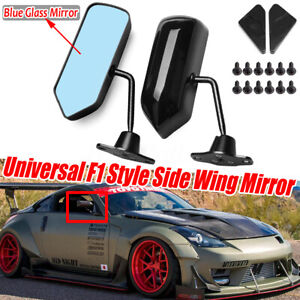 Pair Universal F1 Style Glossy Black Side View Mirrors Bracket Cafe Racer Retro