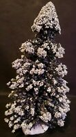 "Lemax Christmas Village 8"" Evergreen Flocked Pine Tree Snow Berries"