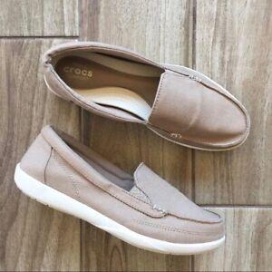 Crocs Walu II Canvas Loafer Khaki Slip On 202489 Women's Size 9
