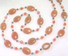 """Gemstone Beaded Necklace &Earring Set 30"""" Hand Knotted Red Aventurine"""