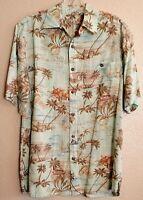 Batik Bay Mens Short Sleeve Button Front Hawaiian Shirt SMALL Floral Palms Boats