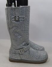 NEW ladies silver Rhinestone winter mid-calf boots fur on inside  Size  9