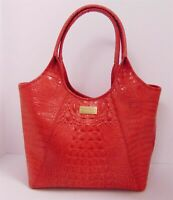 Brahmin Red Embossed Croc Leather Party Shopper Tote Bag