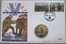 TURKS & CAICOS 1995 5 CROWNS VE-DAY 50th ANNIV, MEETING ON ELBE, BU COIN COVER