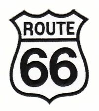 af15 Route 66 Weiß USA Biker Aufnäher Patch Bügelbild Applikation 8,0 x 7,0 cm