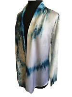Watercolor Cardigan CHICO'S Blue Size 1 Woven FRONT Loose Knit BACK/Sleeves