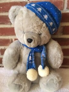 Gray Christmas Plush Bear With Hat And Scarf By Winsor Toys
