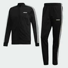 New adidas Men's 3 Stripes Track Suit Jacket & Pants DV2448 Black White Large L