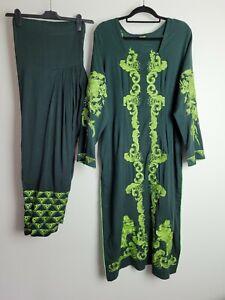 Plus Size Winter Long Sleeved Salwar Kameez Size XL 20 Green