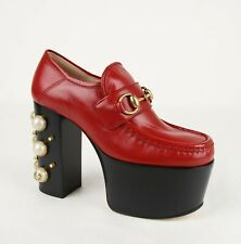 Gucci Women's Red Leather Vegas Platform Oxford Heel w/Pearls 470970 6433